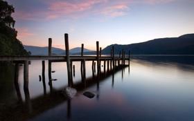 Картинка пейзаж, ночь, мост, озеро