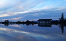 Картинка озеро, фото, обои, пейзажи, дома, озёра