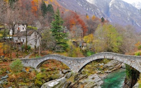 Картинка осень, деревья, горы, мост, дом, река, камни