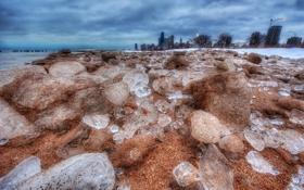 Обои зима, берег, здания, небоскребы, америка, чикаго, Chicago