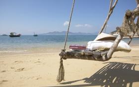 Картинка пляж, океан, отдых, книги, экзотика, скамья