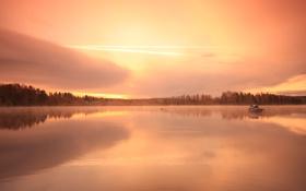 Обои лес, озеро, восход, дома, катер