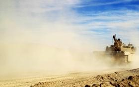 Картинка оружие, пыль, танк