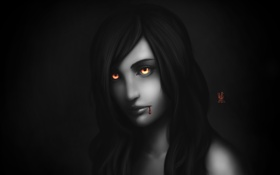 Обои глаза, девушка, кровь, арт, вампир, монохромное