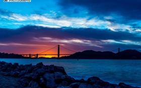 Обои солнце, закат, Мост
