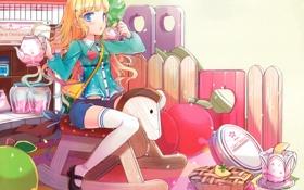 Картинка конь, чай, арт, пирог, девочка, сладкое, деревяный