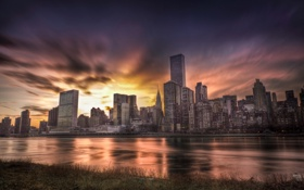 Картинка закат, USA, америка, нью йорк, город, New York City, сша