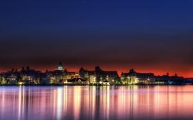Обои ночь, город, огни, озеро, Walt Disney World