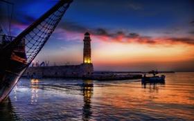 Картинка море, небо, пейзаж, природа, лодка, маяк, восход солнца