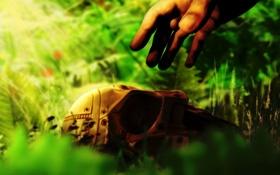 Обои Маска, рука, трава, солнце