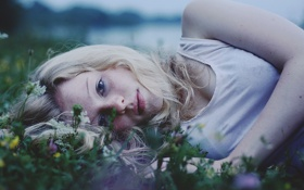 Обои трава, взгляд, девушка, майка, блондинка