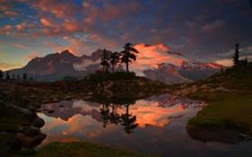 Картинка вода, пейзаж, горы, ночь, природа, фото, США