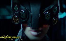 Картинка девушка, лицо, надпись, игра, губы, шлем, Cyberpunk 2077