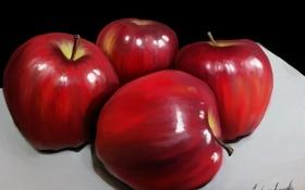 Обои яблоки, лежат, красные, черный фон, еда, стол