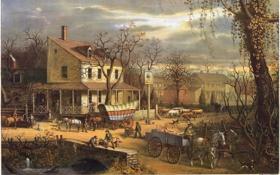 Обои библиотека Конгресса США, Roadside in American scenery, 1817, живопись, painting, картина, E.Sachse & Co.