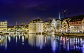 Картинка город, река, Gockhausen, дома, фото, ночь, Швейцария
