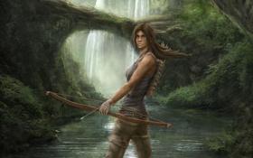 Обои девушка, река, ручей, лук, арт, Lara Croft, Tomb Raider Reborn