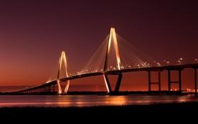 Обои река, мост, bridge, огни