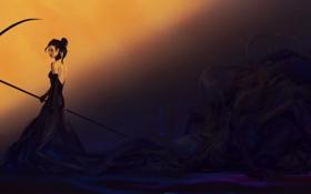 Обои взгляд, фантастика, тьма, монстр, арт, коса, девушка. смерть
