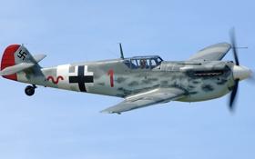 Обои полет, самолет, истребитель, пилот, пропеллер, Ме-109, Мессершмитт