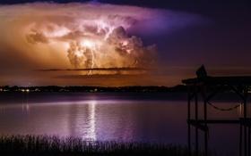 Обои гроза, ночь, озеро