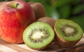Обои apple, food, fruit, kiwi