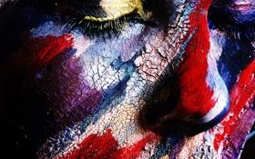 Обои глаза, лицо, краска, нос, арт, живопись, закрытые