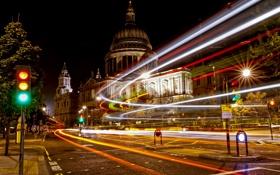 Обои свет, ночь, город, улица, англия, лондон, выдержка