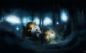 Обои лес, животные, ночь, светлячки, конь, арт, фонарь