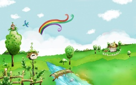 Обои облака, река, птица, фантазия, деревья, дома, мост