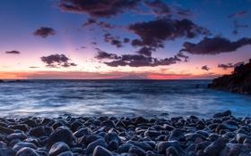 Картинка море, небо, облака, камни, рассвет, берег
