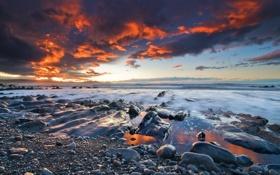 Обои море, небо, облака, закат, камни