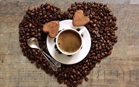 Обои кофе, зерна, печенье, чашка, сердечки, блюдце, ложки