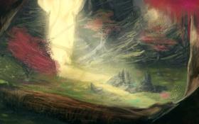 Картинка лес, трава, деревья, цветы, скалы, арт, тропинка