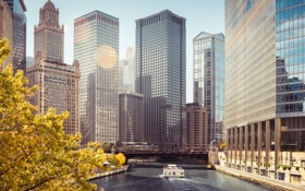 Обои Река, Чикаго, Небоскребы, Здания, Америка, Chicago, America