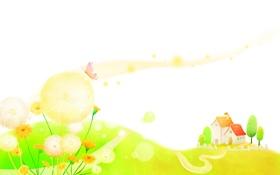 Обои деревья, бабочки, цветы, дом, холмы, дорожка, детские обои