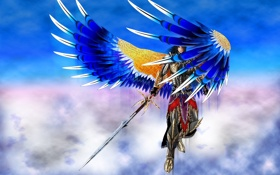 Обои небо, взгляд, облака, оружие, фантастика, крылья, ангел