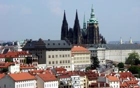 Обои небо, дома, Прага, Чехия, собор Святого Вита, пражский град
