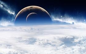 Обои Облака, Планеты, Clouds, Звезды