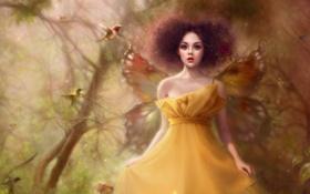 Обои девушка, птицы, крылья, fantasy, magic forest