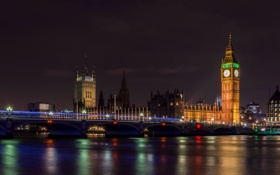 Обои город, Big Ben, ночь, London, мост, Houses of Parliament