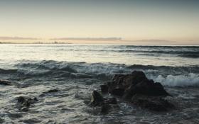 Обои закат, камни, горизонт, небо, волны, море, обои