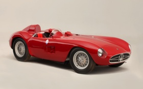 Картинка красный, Maserati, Мазерати, классика, передок, 1956, 300S