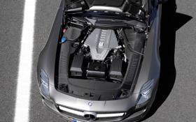 Картинка авто, двигатель, мерс, auto, benz, sls, amg