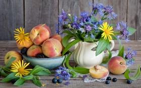 Картинка цветы, черника, ваза, персики, flower, ежевика, vase
