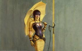 Картинка девушка, зонт, Arthur Gurin
