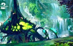 Обои деревья, растение, арт, online, art, guild wars 2, mmorpg