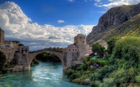Картинка скала, река, Босния и Герцеговина, Mostar, Мостар, Старый Мост, Bosnia and Herzegovina