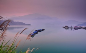 Обои природа, пейзаж, озеро, лодки