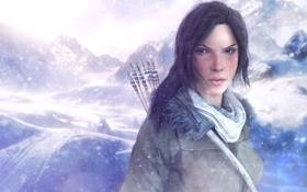 Обои снег, горы, стрелы, lara croft, Rise of the Tomb Raider, Восхождение Расхитительницы гробниц